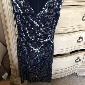 Ralph Lauren Dresses - Navy blue and silver cocktail dress